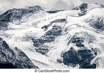 Glacier of the Ortler mountains in South Tyrol - Closeup of ...