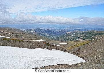 Glacier on the spring slope in the Sierra Nevada
