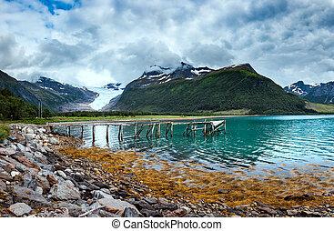 Glacier on the viewing platform. Svartisen Glacier in Norway.