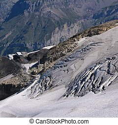 Glacier on top of mount Titlis, Switzerland. - Glacier with...