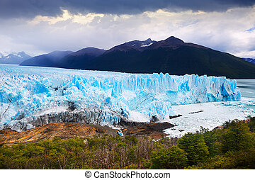 View of glacier Perito Moreno (Glaciar Perito Moreno) and slopes of Andes mountains, southeast of Argentina, province Santa Cruz