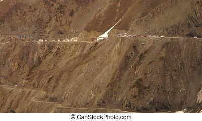 Glacier reduces traffic flow, Ladakh mountain pass - Wide...