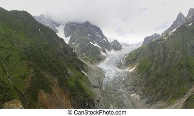 Glacier valley in svaneti Rocks, Georgia.