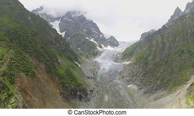 Glacier valley in svaneti Rocks, Georgia.