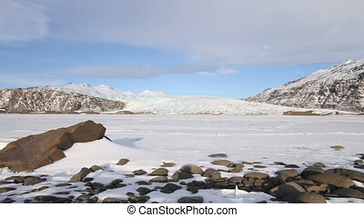 Glacier view - Scenic time lapse view of the Vatnajokull...