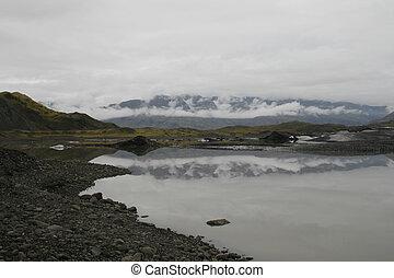 glacier with lake