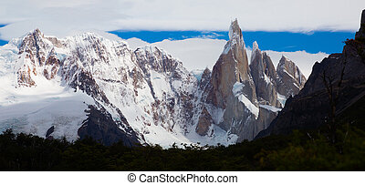 Picturesque views of snow-capped mountain peaks and glaciers of Cerro Fitzroy, Cerro Chaltel. Patagonia, Argentina, Chile, Andes