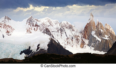 Views of snow peaks of Andes mountains in summer day, Santa Cruz, Argentina, South America