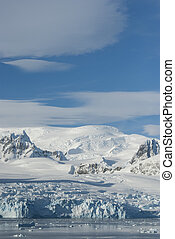glaciers and mountains on the coast of the Antarctic Peninsula, sunny day