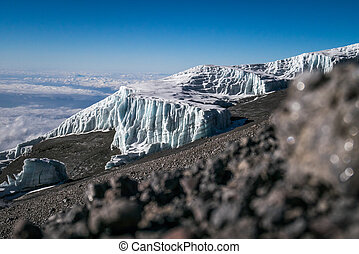 Glaciers on Mount Kilimanjaro, Tanzania - Glaciers on Kibo,...