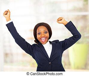 glad, affärskvinna, afrikansk amerikan