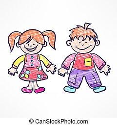 glad färg, tecknad film, children., vektor, illustration.
