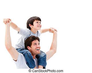 glad, fader, ge sig, på ryggen ritt, till, hans, son