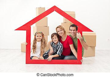 glad familie, gribende, into, en, nyt hjem