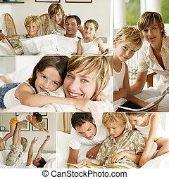 glad familie, hjem hos