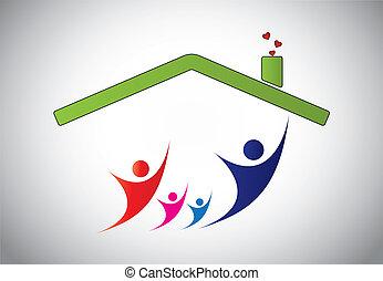 glad familie, i, mand, kvinde børn, springe, glæde, ind, hjem, house., lykke, i, familie, hos, forældre, og, børn, hos, hænder oppe, ind den luft, hos, hus, tag, og, lyse hvide, baggrund, -, begreb, illustration