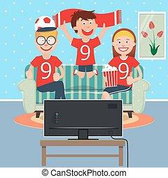 glad familie, iagttag, fodbold, sammen, på, television