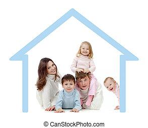 glad familie, ind, deres, egen, hjem, begreb