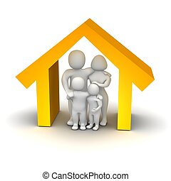 glad familie, inderside, house., 3, rendered, illustration.