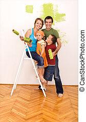 glad familie, maleri, deres, nyt hjem, sammen