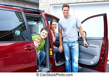 glad familie, og, en, familie, vogn.