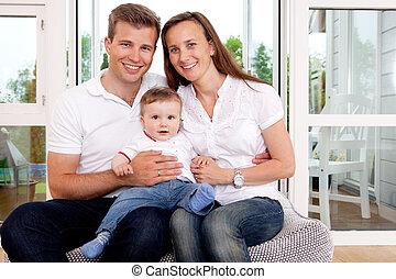 glad familie, portræt
