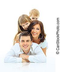 glad familie, smil., isoleret, hen, en, hvid baggrund