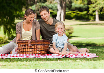 glad, familj, ha picknick, i parken
