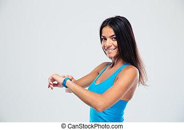 glad, fitness, kvinna, användande, fitness, förföljare
