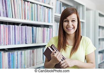 glad, flicka, böcker, student