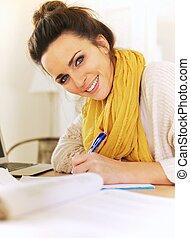 glad, journal, kvinna, henne, skrift