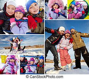 Glad kids - Joyful kids in winterwear having happy time...