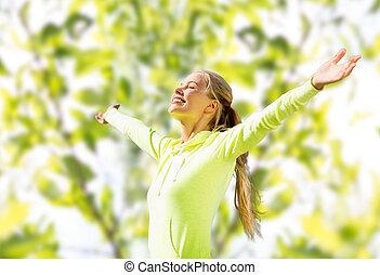 glad kvinde, ind, sport, klæder, rejsning, hænder