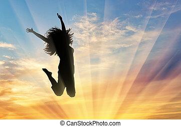 glad kvinde, springe, hos, solnedgang