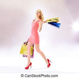 glad, kvinna, gör, den, inköp