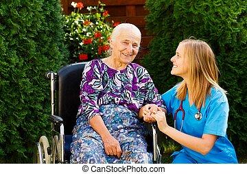 glad, med, den, vårdhem, tjänsten