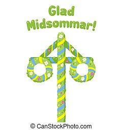 glad, midsommar, majstång, midsummer