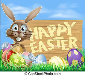 glad påsk, ägg, korg, kanin
