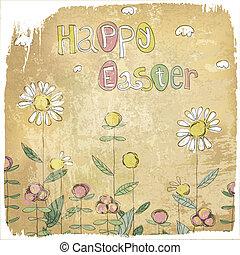glad påsk, årgång, card.