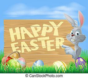 glad påsk, kanin, pekande