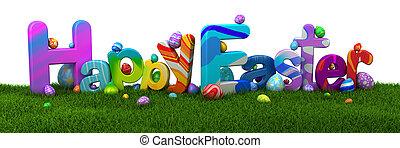 glad påsk, text, med, färgrik, ägg, på, grönt gräs, -, 3, render