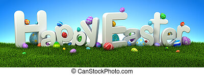 glad påsk, text, med, färgrik, ägg, på, grönt gräs, med, blåttsky, -, 3, render