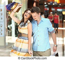 glad, par, att shoppa centrerar