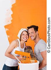 glad par, maleri, deres, lejlighed