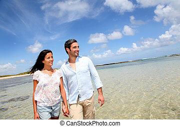 glad, promenera koppla, av, den, hav
