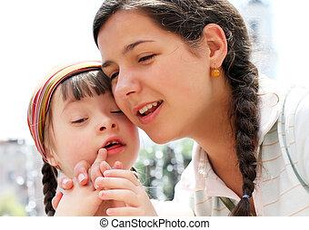 glad släkt, ögonblicken, -, fostra och barnet, ha, a, fun.