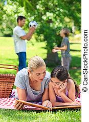 glad släkt, ha picknick, i parken