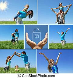 glad släkt, utomhus, in, sommar, -, collage