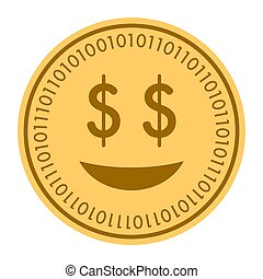 Glad Smile golden digital coin icon. Vector style. gold yellow flat coin cryptocurrency symbol. isolated on white. eps 10