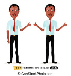Glad smile happy african american business man showing thumbs up cartoon vector isolated on white